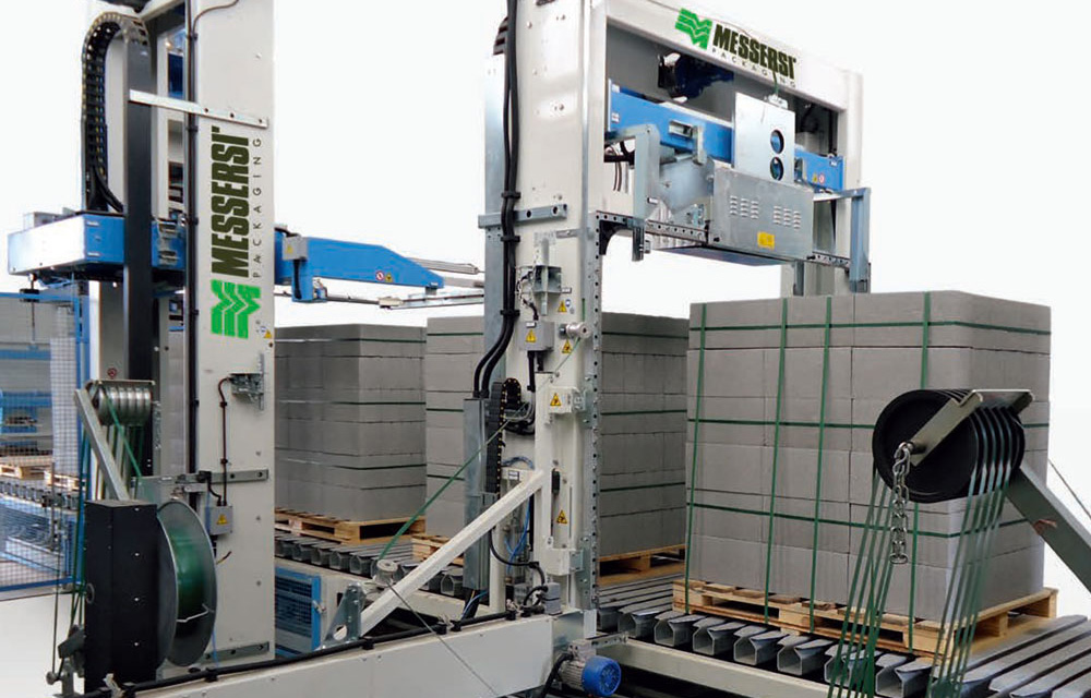 Packaging line for building industry